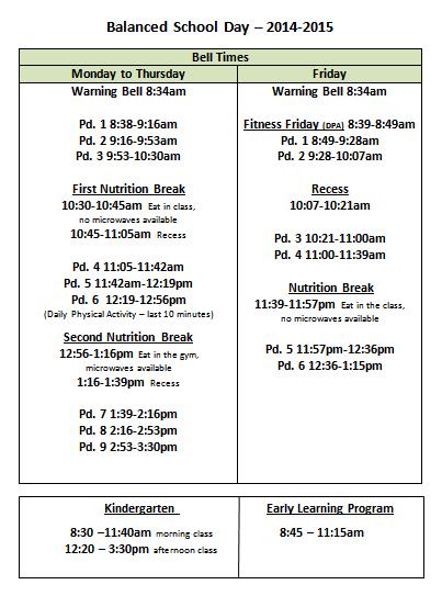 BSD 2014-15 bell times