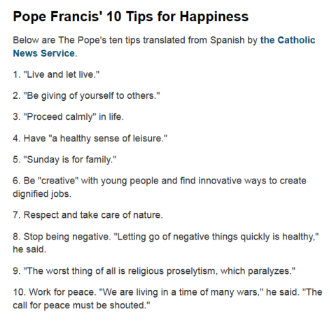 Pope Francis top ten