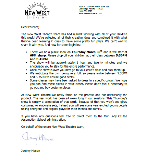 New west letter 2